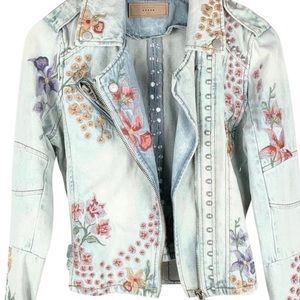 Blank NYC studded/embroidered denim jacket